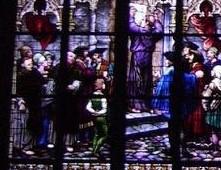 Der Anschlag der 95 Thesen in einem der Emporenfenster der 1904 eingeweihten Gedächtniskirche in Speyer